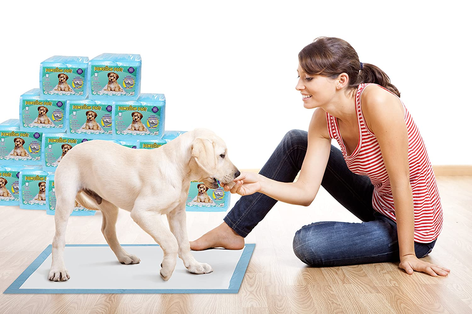 80 Counts Pawssible Leak-free HUGE TRAINING PADS (80 Count) Keep your LUXURIOUS floors intact
