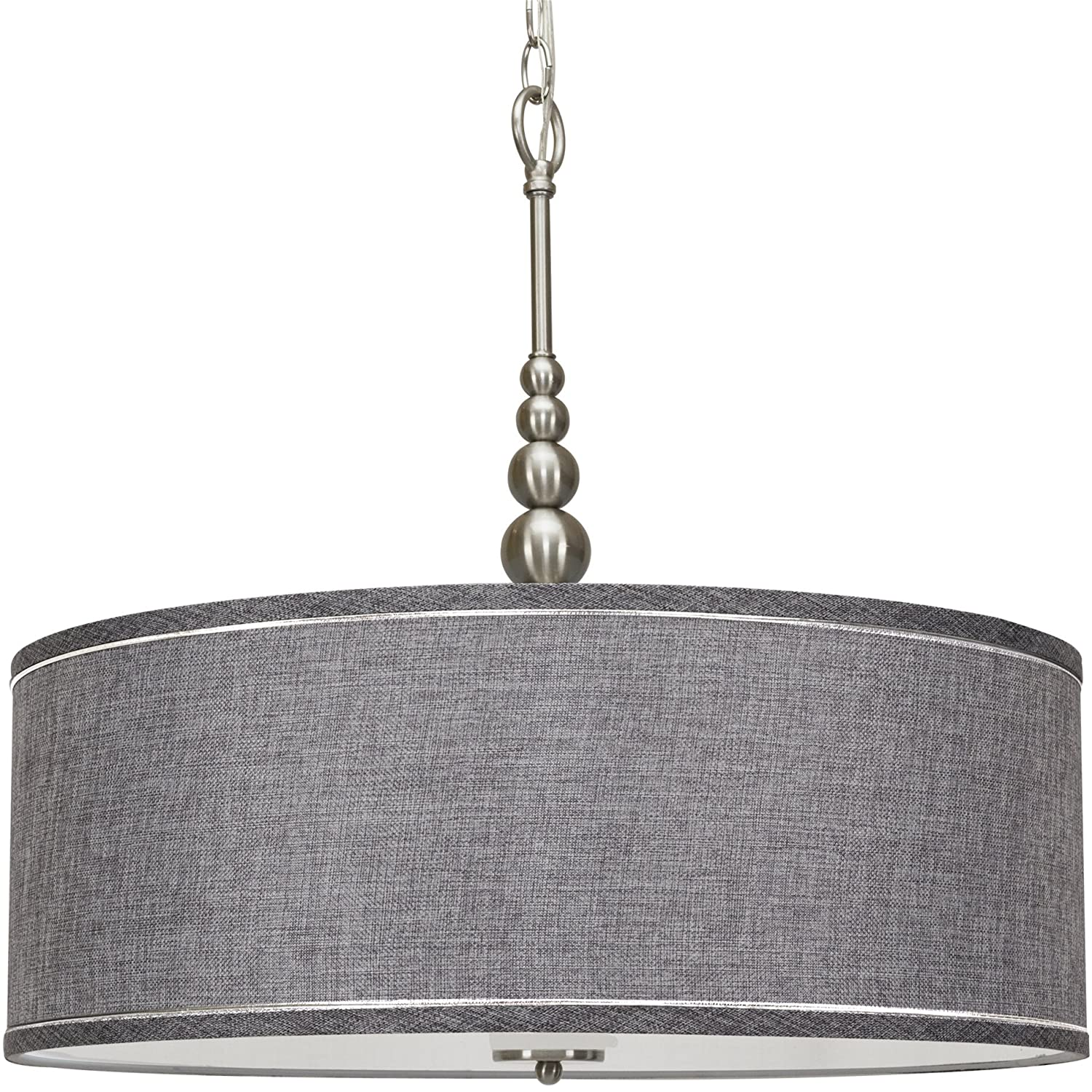 "Kira Home Adelade 22"" 3-Light Modern Chandelier, Gray Fabric Drum Shade & Glass Diffuser, Brushed Nickel Finish"