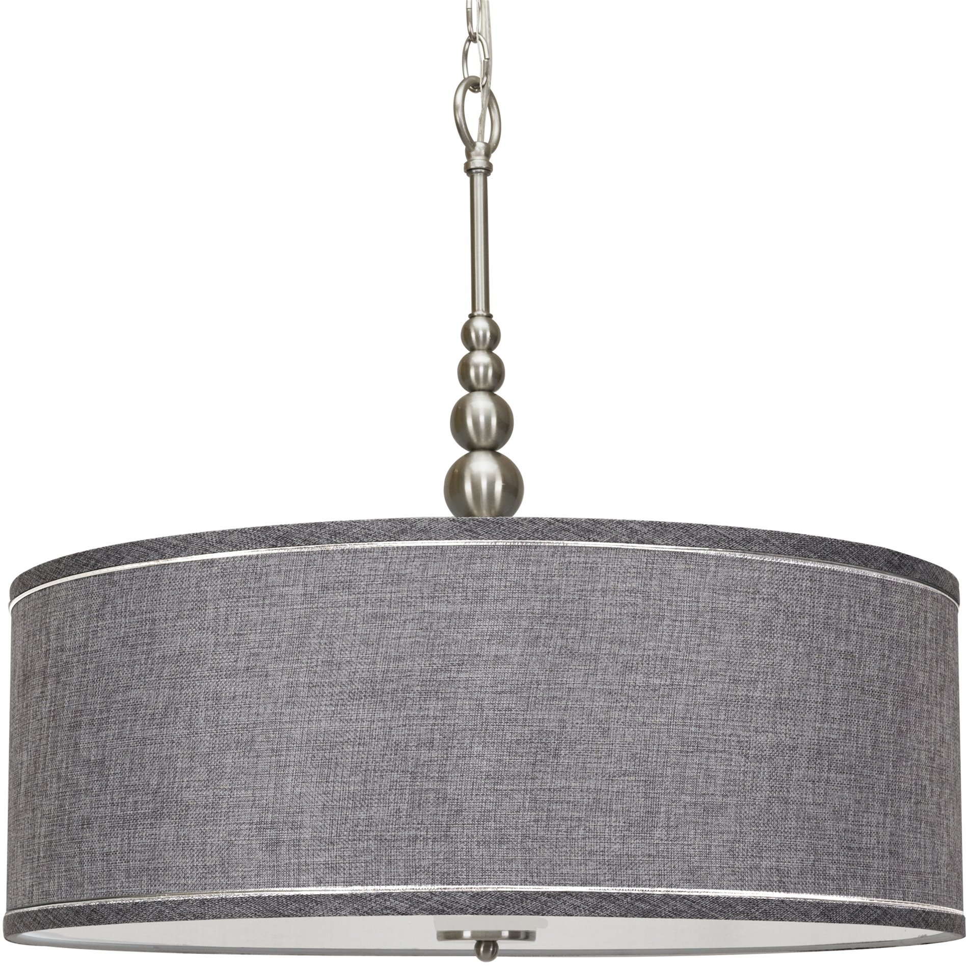 Kira Home Adelade 22'' Modern 3-Light Drum Pendant Chandelier, Gray Fabric Shade, Tempered Glass Diffuser, Adjustable Height, Brushed Nickel Finish