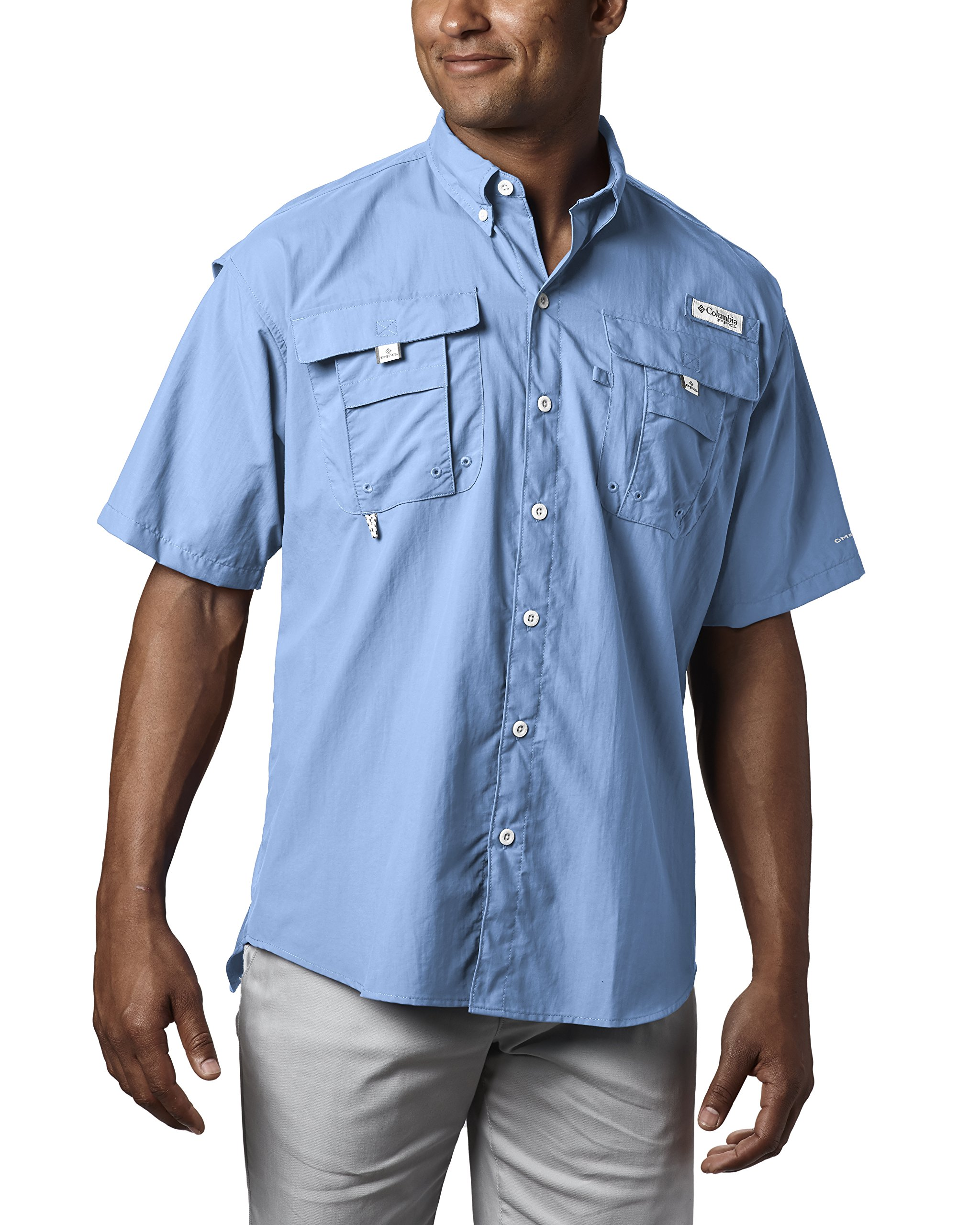 Columbia Men's Bahama II Short Sleeve Shirt, SAIL, Large