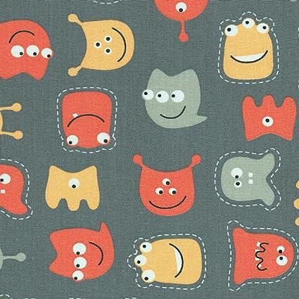 Tela para niños - los pequeños monstruos amigables - gris ...