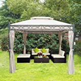 Greenbay 3x3m Deluxe Metal Gazebo Pavilion Awning Canopy Sun Shade Screen Shelter Garden Party Tent