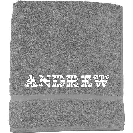 TeddyTs Toalla bordada para hombre, diseño de bandera británica, Gris, Bath Sheet (