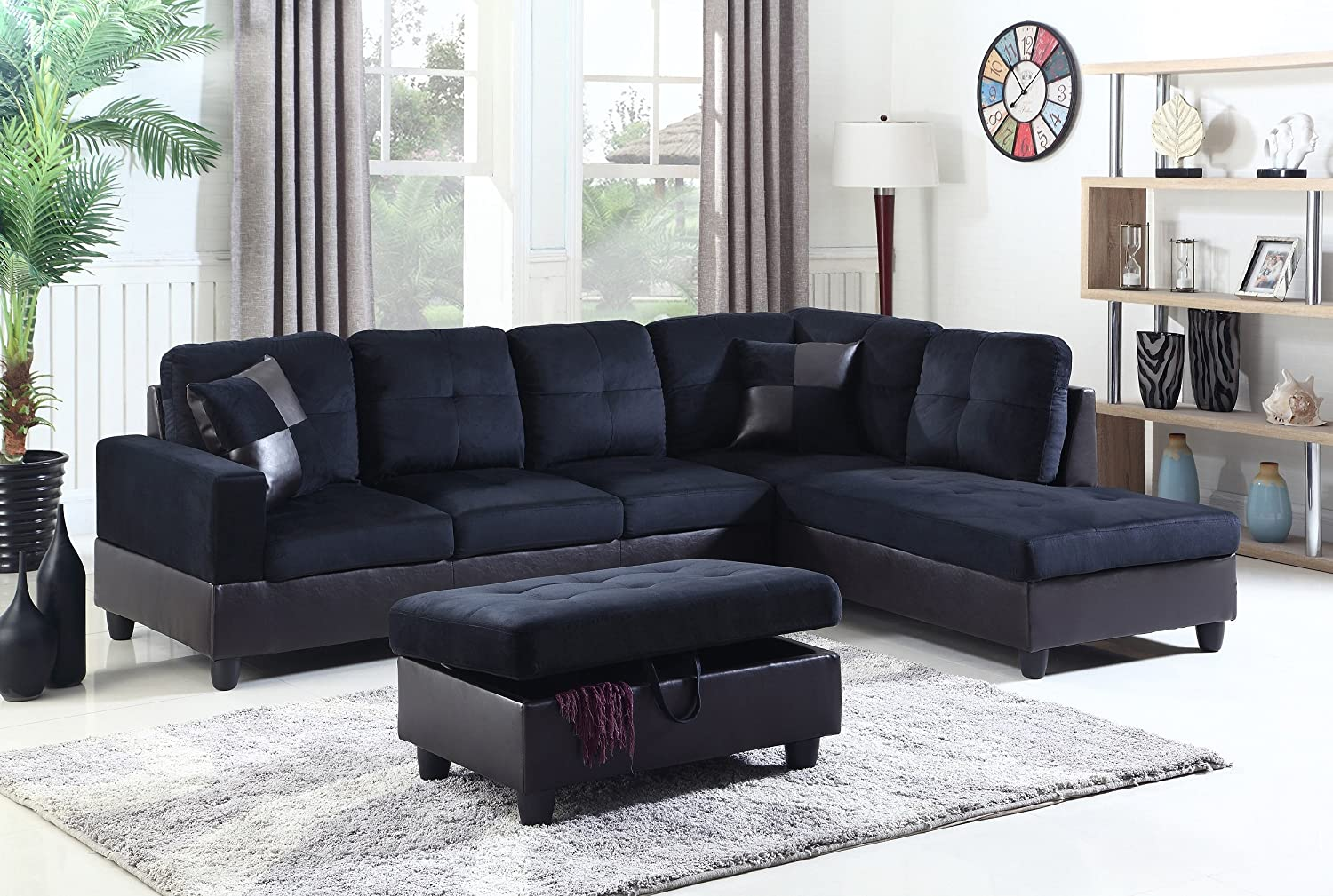 Admirable Amazon Com Lifestyle 3 Piece Diana Right Facing Sectional Beatyapartments Chair Design Images Beatyapartmentscom