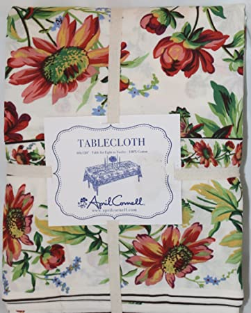 Marvelous April Cornell French Country Spring Summer Cottage Floral Tablecloth 60 X  120 Easter