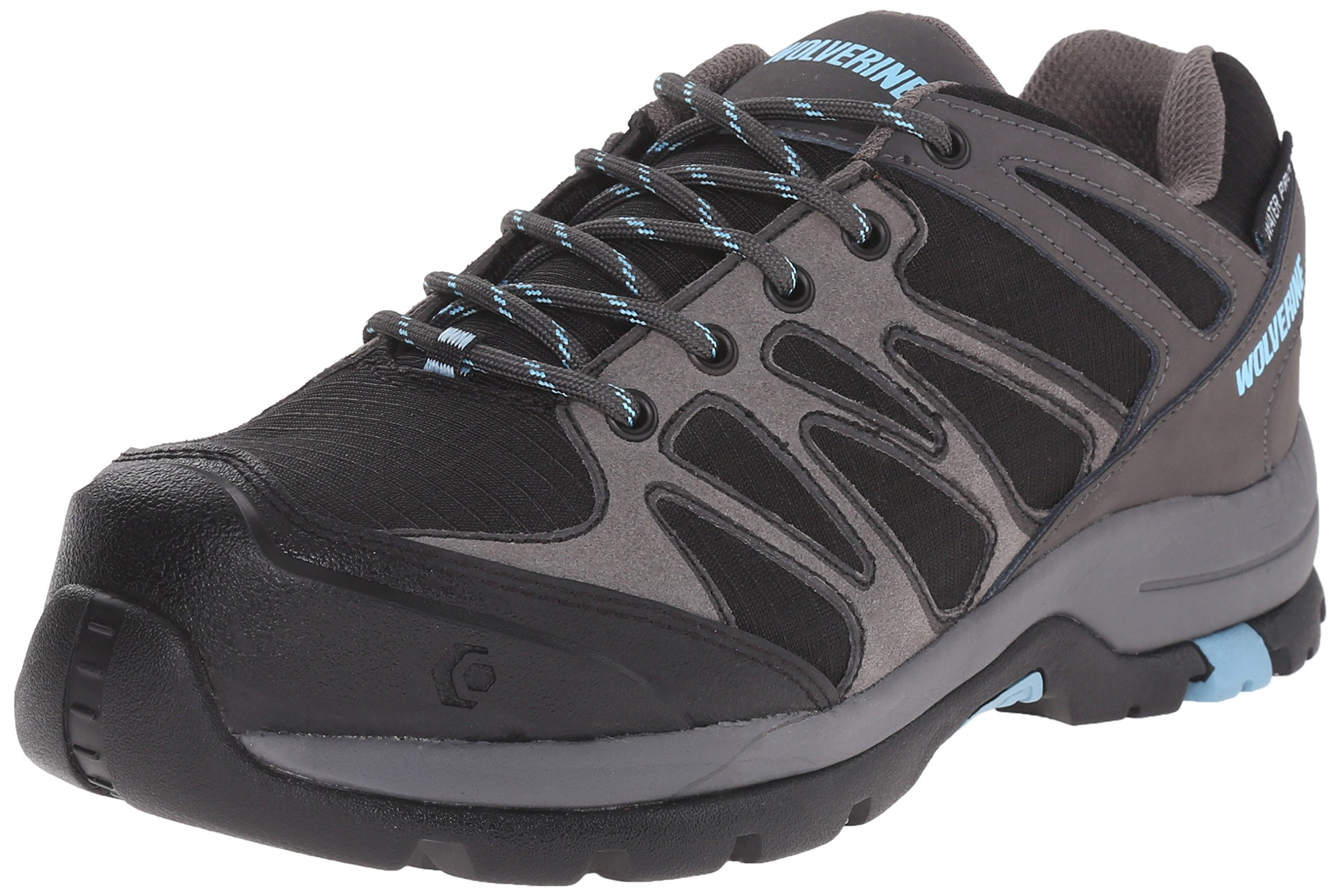Wolverine Women's Fletcher Low Work Shoe, Black/Blue, 5 M US