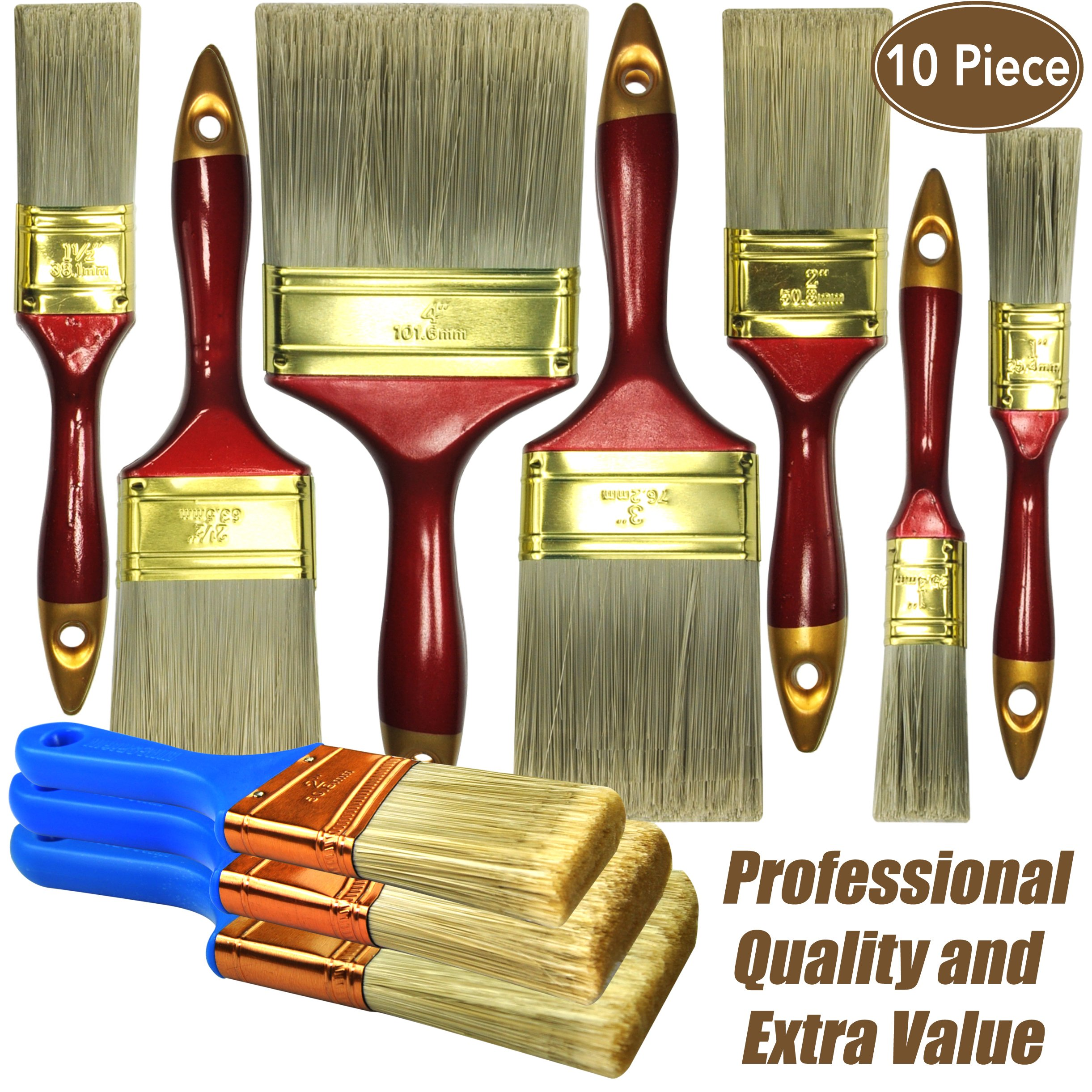 10 Piece Professional Painters Heavy Duty Paint Brush,Paint Brushes,Paint Brushes Set,Paint Brushes,Painters Tools,Painters Brush,Painters Paint Brush