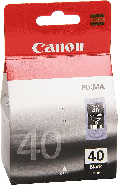Canon PG-40 Cartucho de tinta original Negro para Impresora de Inyeccion de tinta Pixma MP140,150,160,170,180,190,210,220,450,450x,460,470-iP1200,1300,1600,1700,1800,1900,2200,2500,2600: Canon: Amazon.es: Oficina y papelería