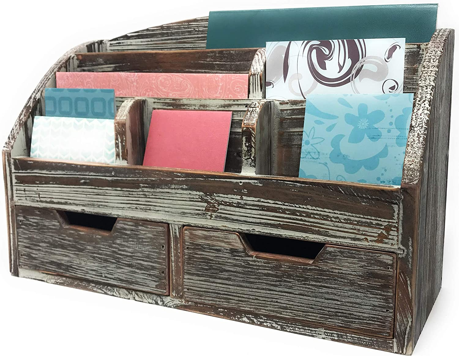 Farmhouse Decor Decorative Desk Organizer 3 Tier Mail Sorter Envelopes Folders Office Supplies Drawers Shelves Organizers Rustic Wood Distressed Finish