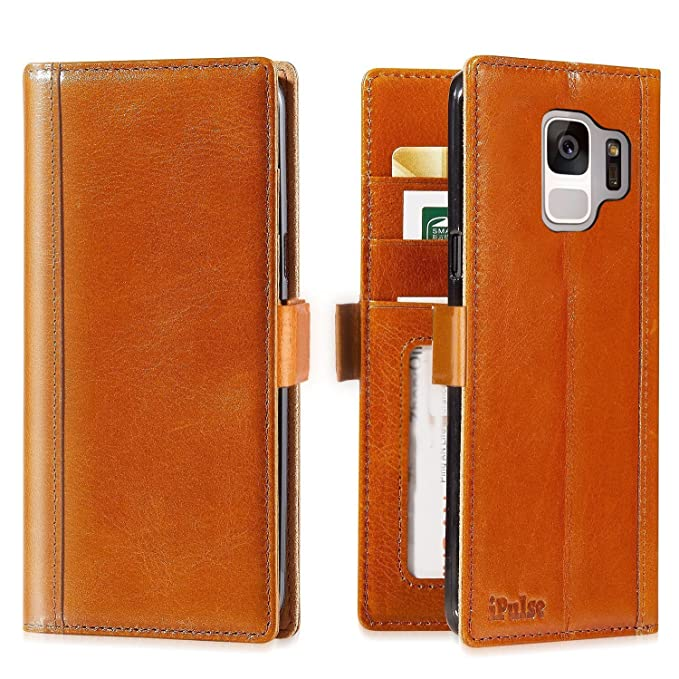 premium selection 513ef dae97 iPulse Journal for Galaxy S9 Italian Full Grain Case Leather Handmade Flip  Wallet Case for Samsung Gallaxy S9 - Cognac