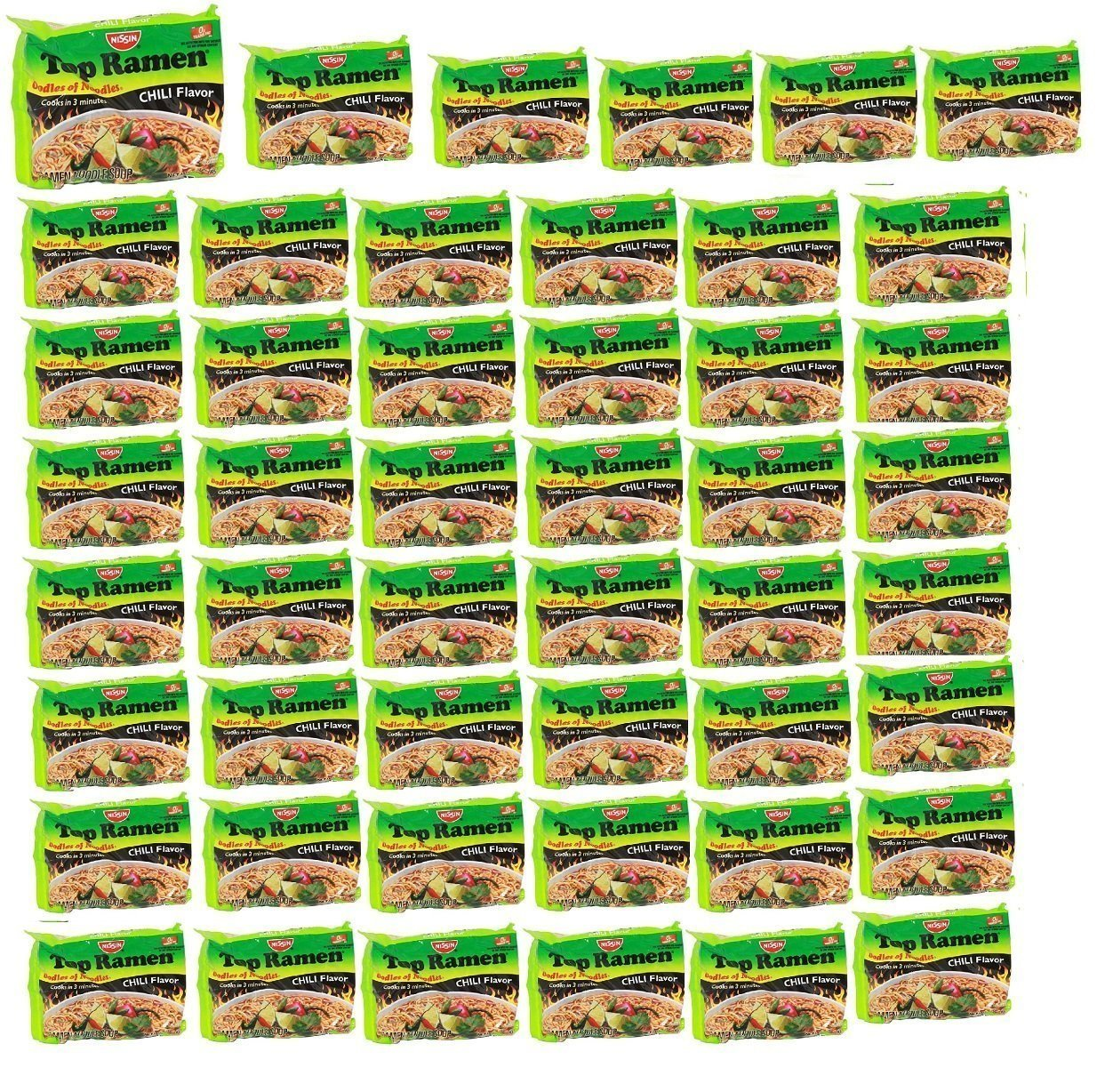Nissin TOP Ramen Noodle Soup Chili Flavor with Og Trans FAT for Best in Ramen Instant Noddle Soup- 48 Pack of 3 Oz Bags by Nissin