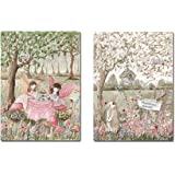 Fairy Wall Art, Vintage, Set of 2 Unframed Fine Art Prints, 6 Sizes, Personalized, Tea Party, Garden, Enchanted Forest, blush pink