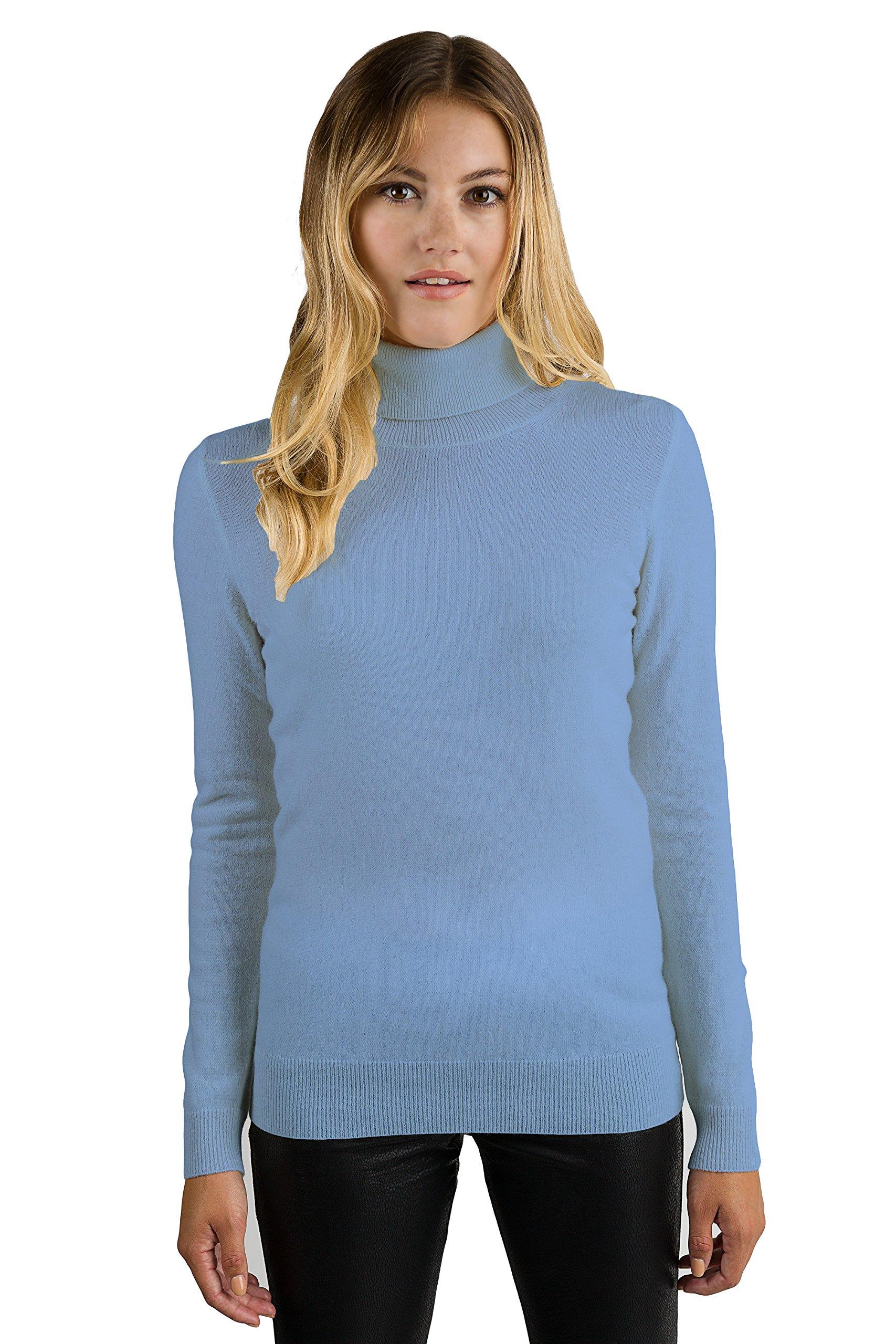 JENNIE LIU Women's 100% Pure Cashmere Long Sleeve Pullover Turtleneck Sweater (S, CrystalBlue)