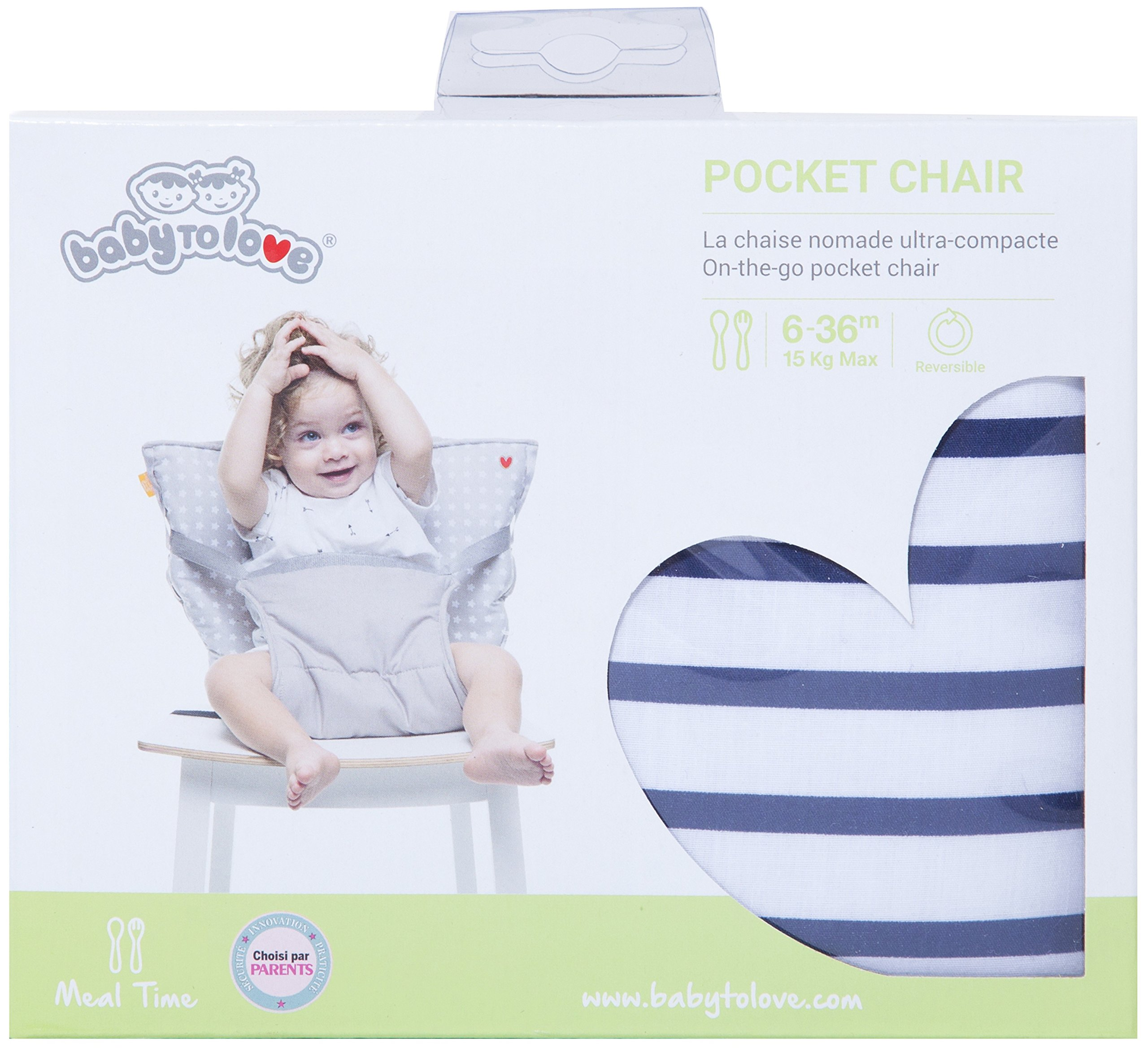 Baby-to-Love Pocket Chair, Toddler Portable High-Chair Seat Cover for Travel (Denim Edition)