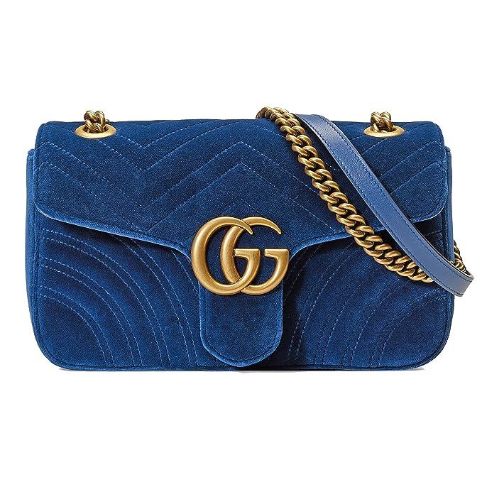 c2f7fcf490 Gucci Borsa A Spalla Donna 443497K4D2T4511 Velluto Blu: Amazon.it:  Abbigliamento