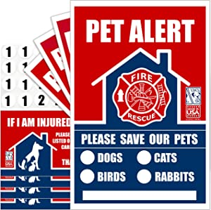 LDCL DOG Pet Alert Rescue Stickers for House Doors, Windows, and Walls. Premium Extended Life Vinyl Stickers and Numbers with Wallet Cards. Alert Firefighters to Rescue Your Pets. Made in USA.