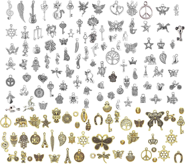 LABOTA 150 piezas Colgantes tibetanos del encanto de plata retro al por mayor mezclados para de la joyería de bricolaje, llaveros, pulseras, collares, pendientes