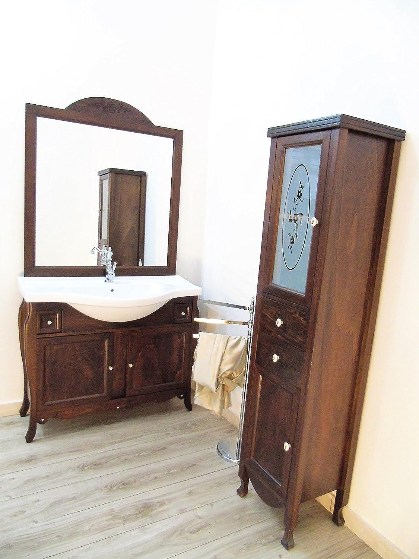 mobile da bagno massello arte povera + colonna con swarovsky ... - Mobili A Colonna Da Bagno