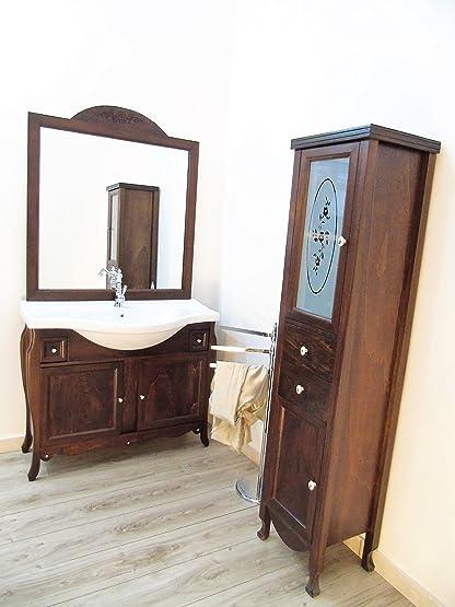 mobile da bagno massello arte povera + colonna con swarovsky ... - Colonna Arredo Bagno