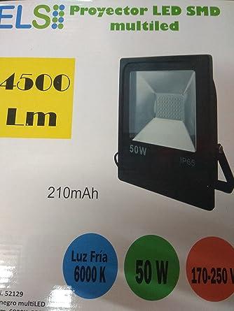 Proyector LED 50w ELS negro slim Luz fria 6000K 4500lm (Negro ...