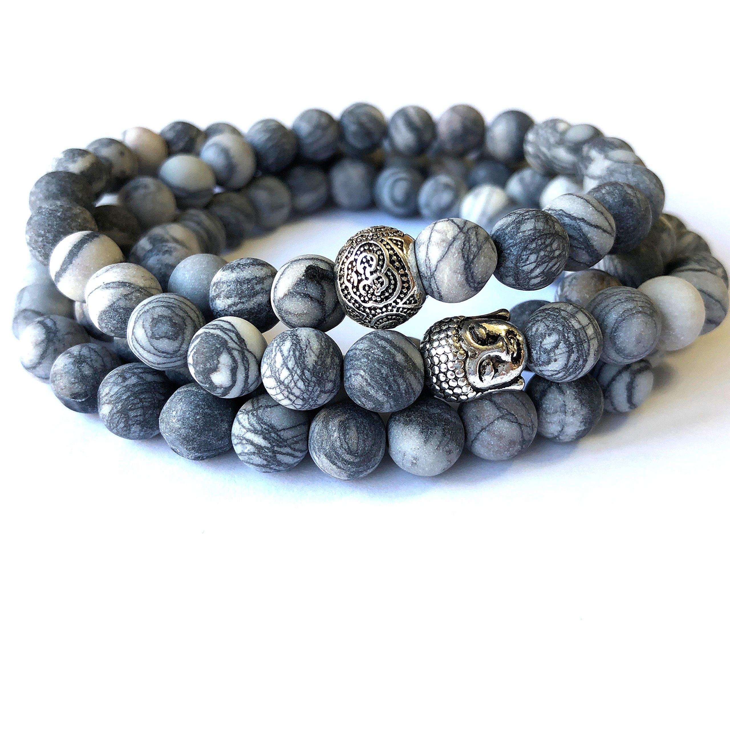 Agar Creations - 108 Bead Picasso Jasper 8mm Mala - Buddha Prayer Beads - Yoga Meditation Mala Bracelet Necklace - Healing Stone