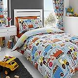 Happy Linen Co Big Digger Trucks Tractor JCB Boys Kids Grey Blue Single Duvet Cover Bedding