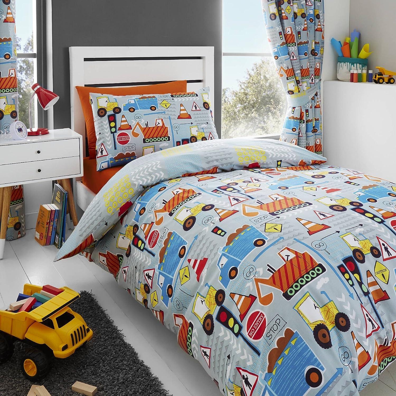 Happy Linen Co Big Digger Trucks Tractor JCB Boys Kids Grey Blue Double Duvet Cover Bedding Curtains Happy Linen Company