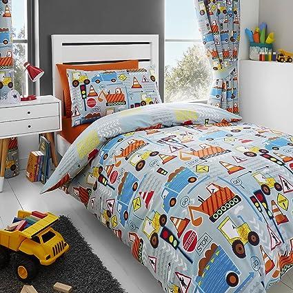 quality design 1df5d 14707 Happy Linen Co Big Digger Trucks Tractor JCB Boys Kids Grey Blue Double  Duvet Cover Bedding Curtains