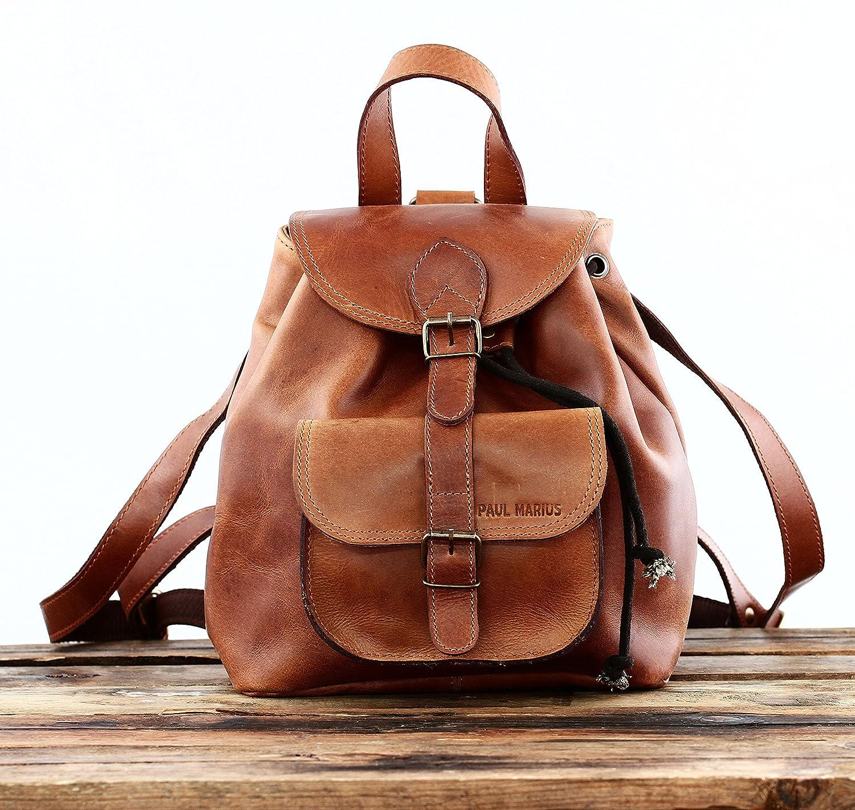 prix compétitif 2e81e 9c292 PAUL MARIUS petit sac à dos en cuir couleur Naturel style vintage LE  BAROUDEUR, Marron, S