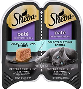 SHEBA PERFECT PORTIONS Adult Soft Wet Cat Food Paté, Delectable Tuna Entrée, (24) 2.6 oz. Twin-Pack Trays