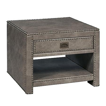 Stylistics Industry Side End Table, 24 x 24 x 19 , Grey