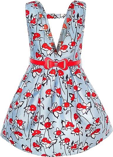 Sunny Fashion Vestido para niña Rojo Cinturón Flor Liga Falda ...