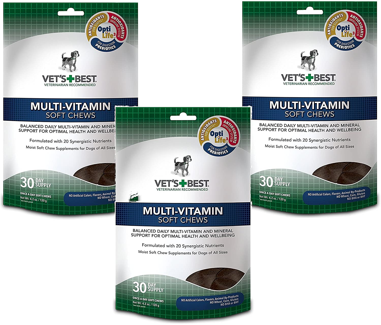 90 Day Supply (3 Pack) Vet's Best Multi-Vitamin Soft Chews Dog Supplements, Each a 30 Day Supply