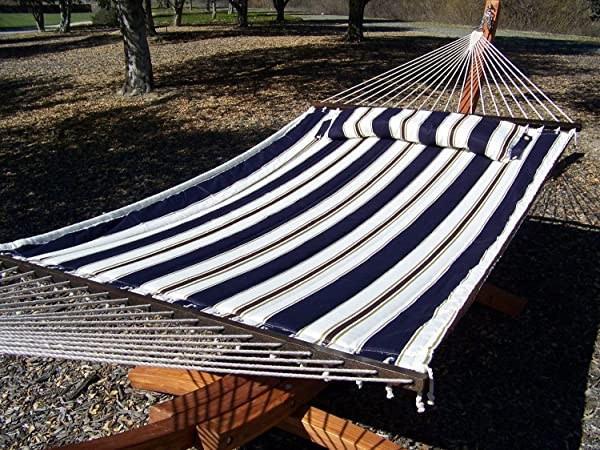 Petra Leisure 14 Ft. Teak Wooden Arc Hammock Stand + Deluxe Quilted Elegant Blue Stripe, Double Padded Hammock Bed w/Pillow