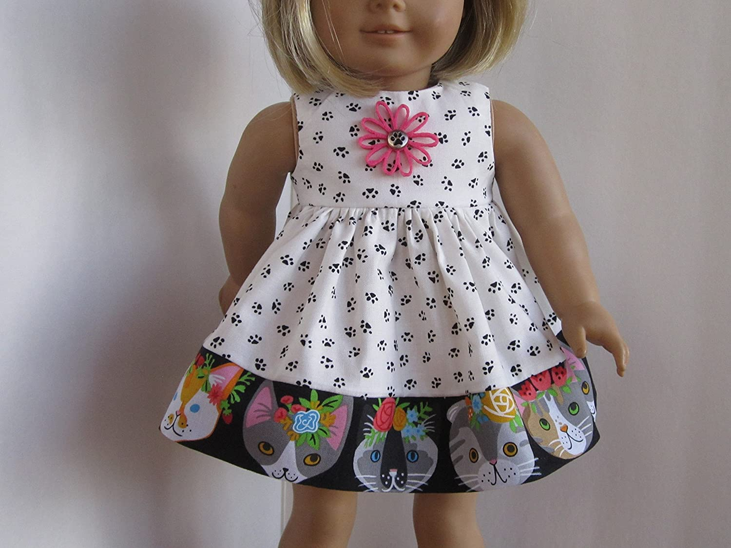 Kitty Cat Faceshots & Lots of Pawprints Dress fits American Girl - Handmade