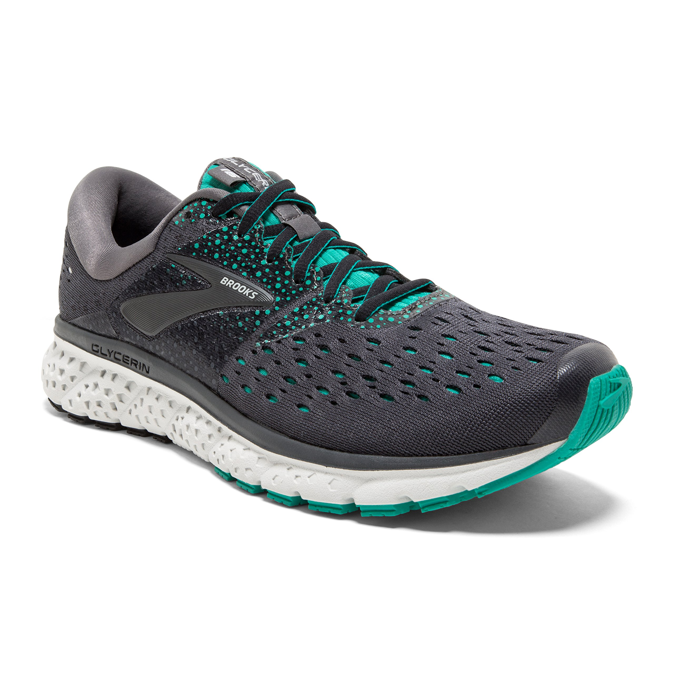 Brooks Womens Glycerin 16 - Ebony/Green/Black - B - 10.0 by Brooks