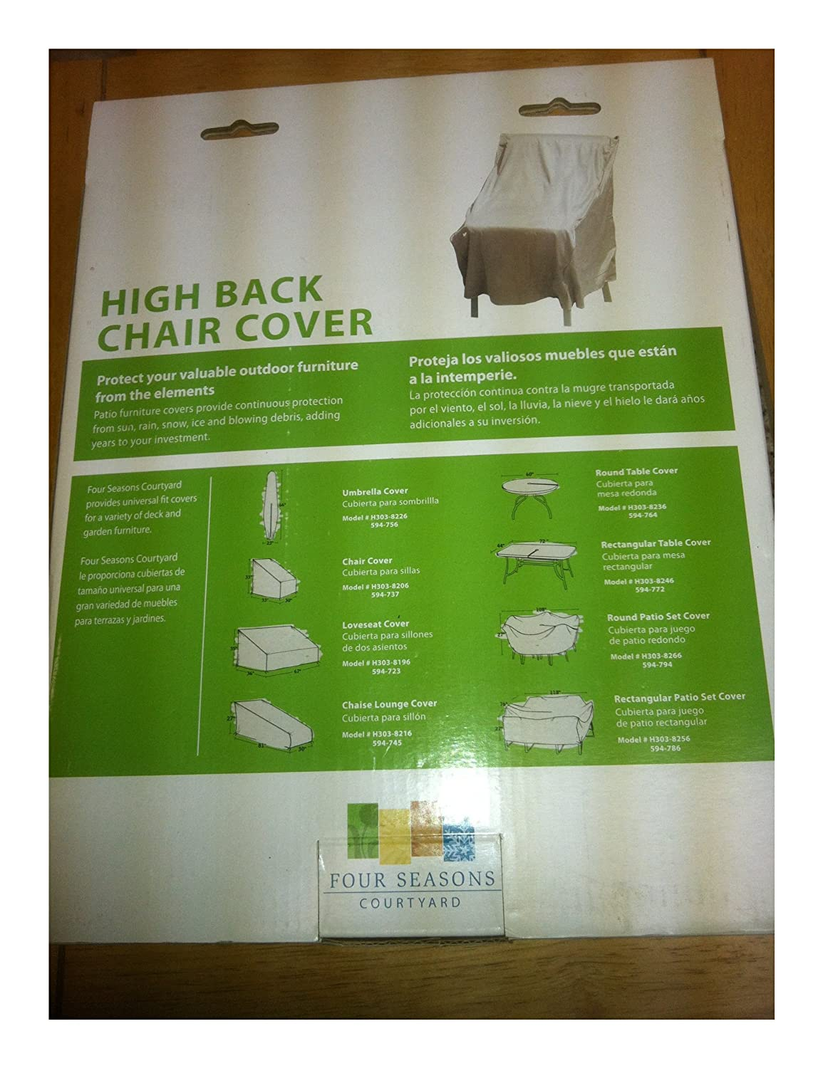 Amazon.com : High Back Durable Polyester w/ PVC Backing Chair Cover ...