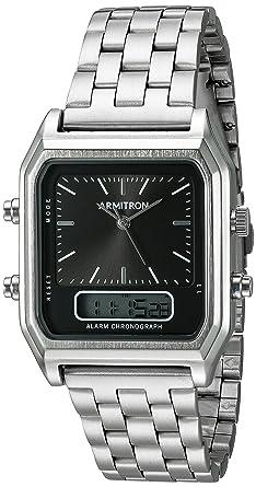 6e59be64c788 Image Unavailable. Image not available for. Color: Armitron Men's  20/5124BKSV Analog-Digital Chronograph Silver-Tone Bracelet Watch