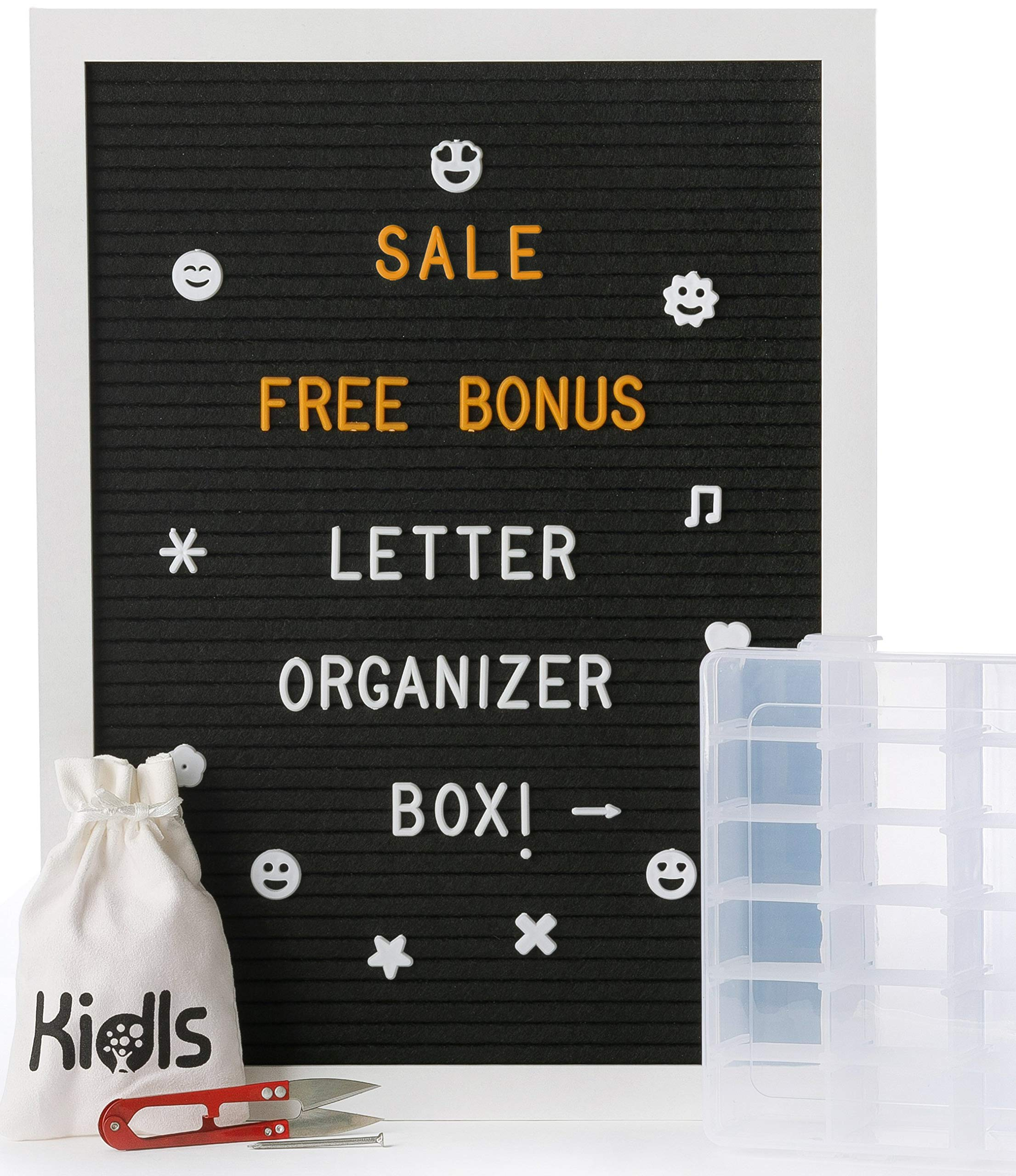 Felt Letter Board – 12''x16'' White Wood Frame with 750 Changeable Letters, Numbers, and Emojis – Message Board Sign + FREE BONUS: Organizer Box and Scissors - Black