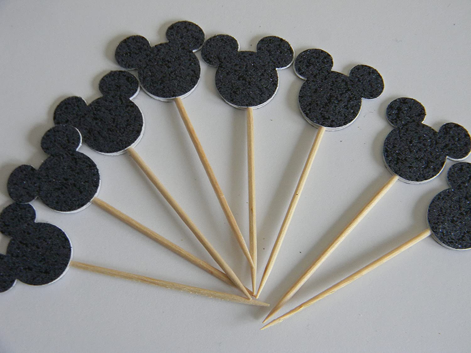 24 Black Glitter Mickey Mouse inspired cupcake toppers food picks birthday party décor shower supplies