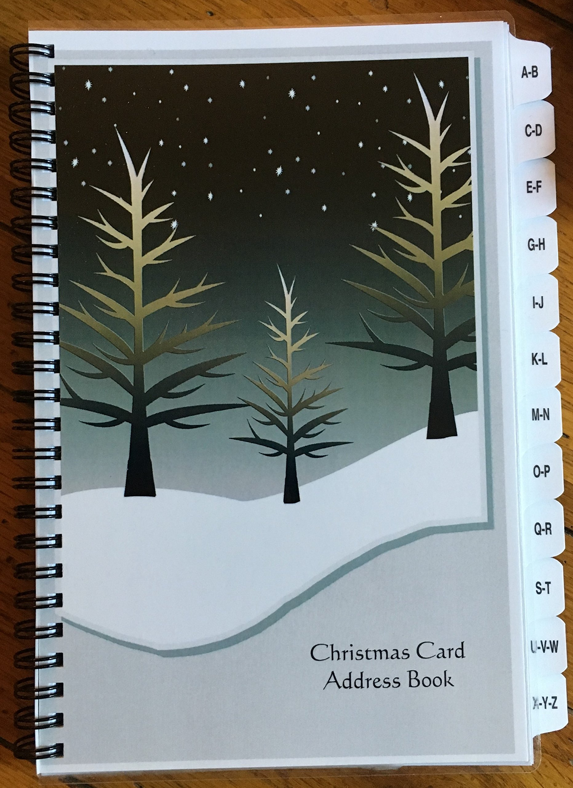Christmas Card Address Book List Organizer with A-Z Tabs Winter Personalized Gift track 8 years by JDSeals (Image #1)
