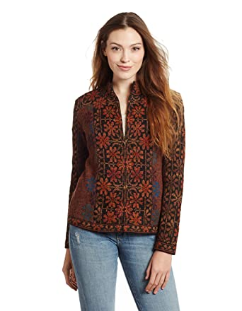 Invisible World Women s 100% Alpaca Wool Cardigan Embroidered Zip Up Sweater  ... 5e53c52fc