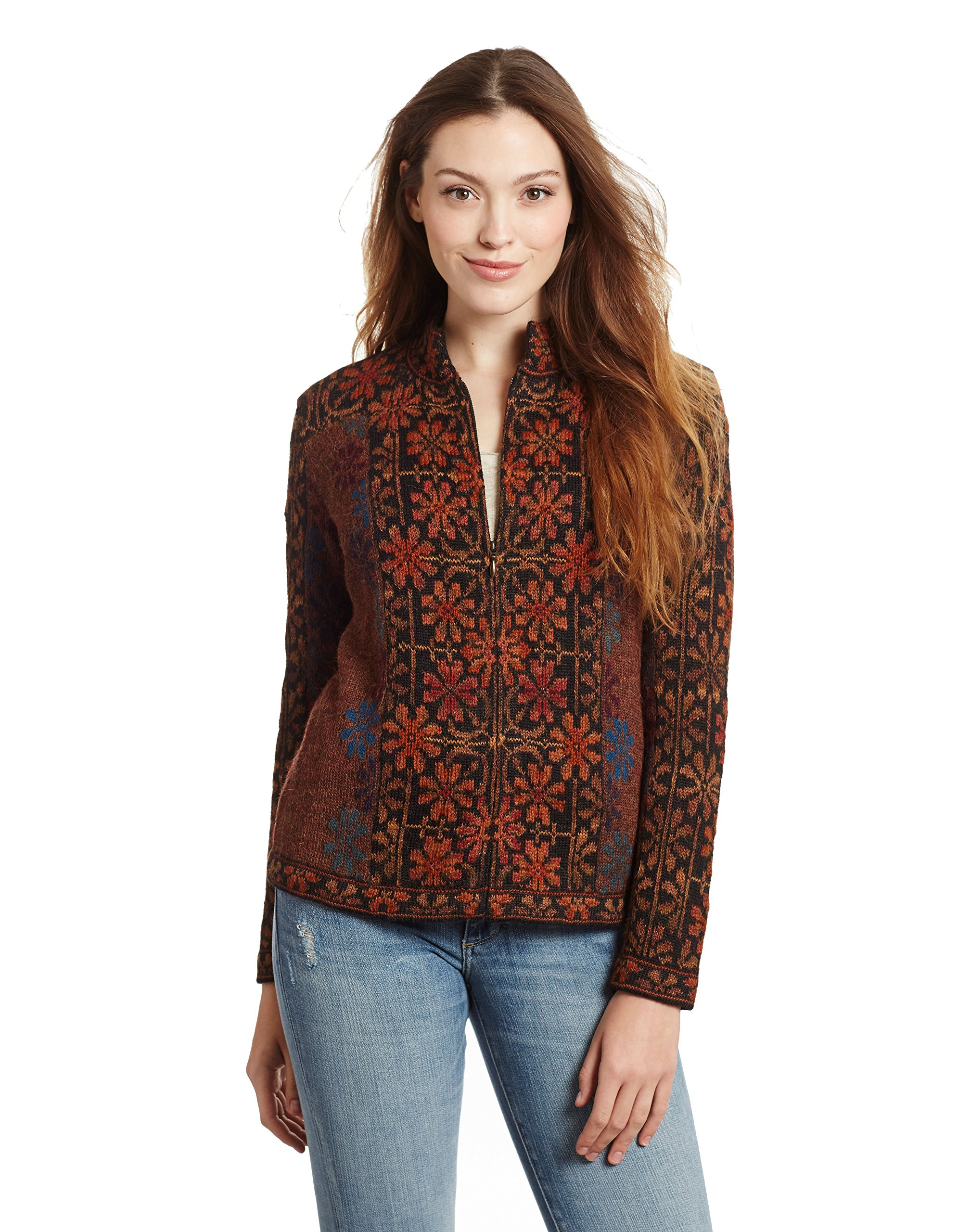 Invisible World Women's 100% Alpaca Floral Cardigan Sweater Ophelia XL by Invisible World