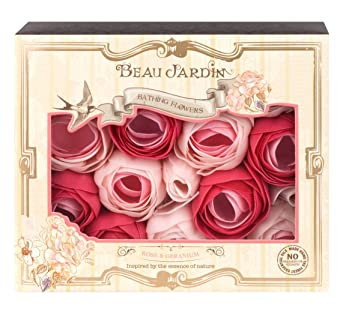 Amazon.com: Beau Jardin Rose and Geranium Bathing Flowers 70 g: Beauty