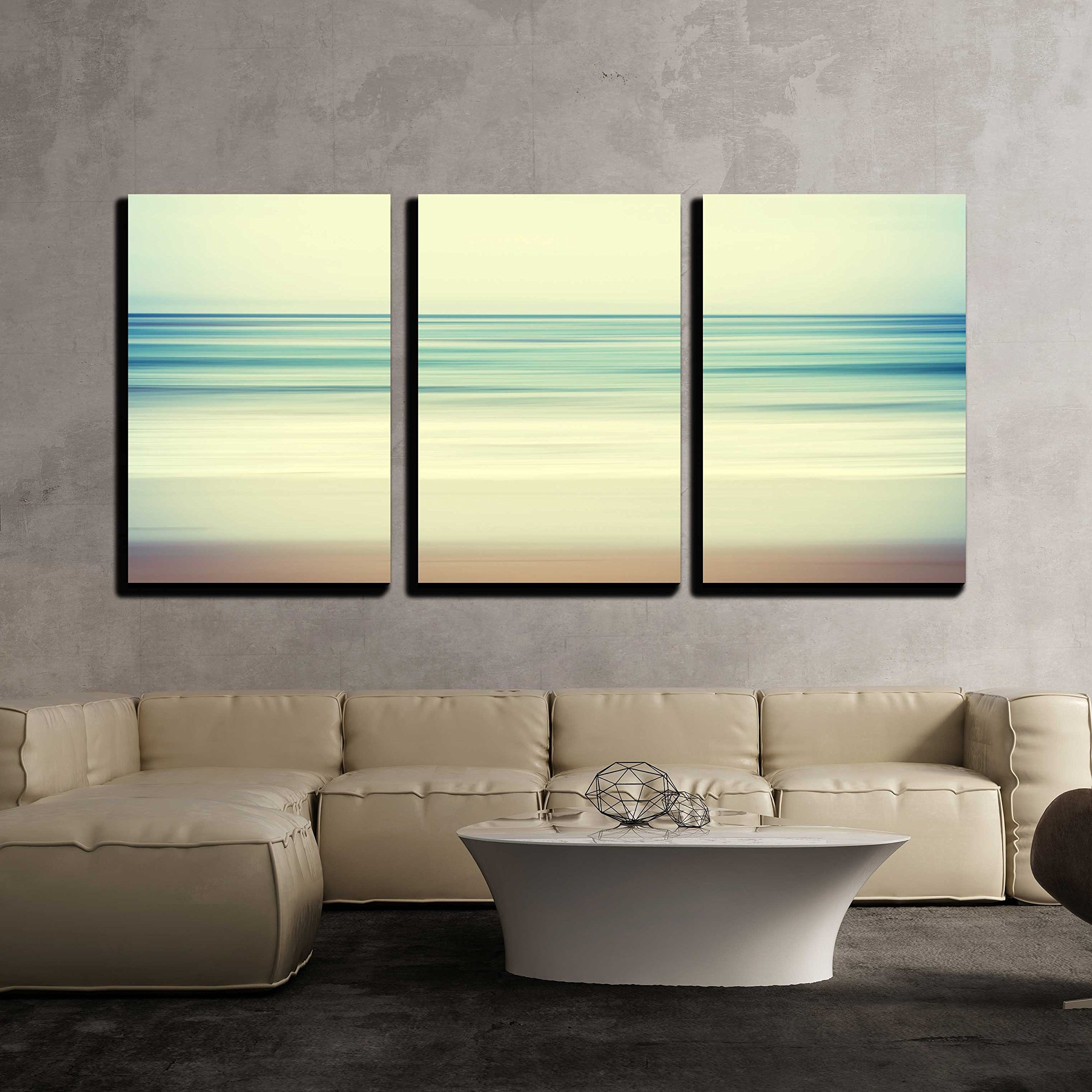 wall26 - 3 Piece Canvas Wall Art - an Abstract Ocean Seascape with Blurred Panning Motion - Modern Home Decor Stretched and Framed Ready to Hang - 16''x24''x3 Panels