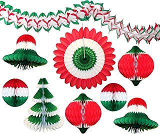 product image for 9-Piece Large Christmas Themed Honeycomb Tissue Paper Party Decoration Kit (Bells, Balls, Fan, Tree, Garland, Ornament)