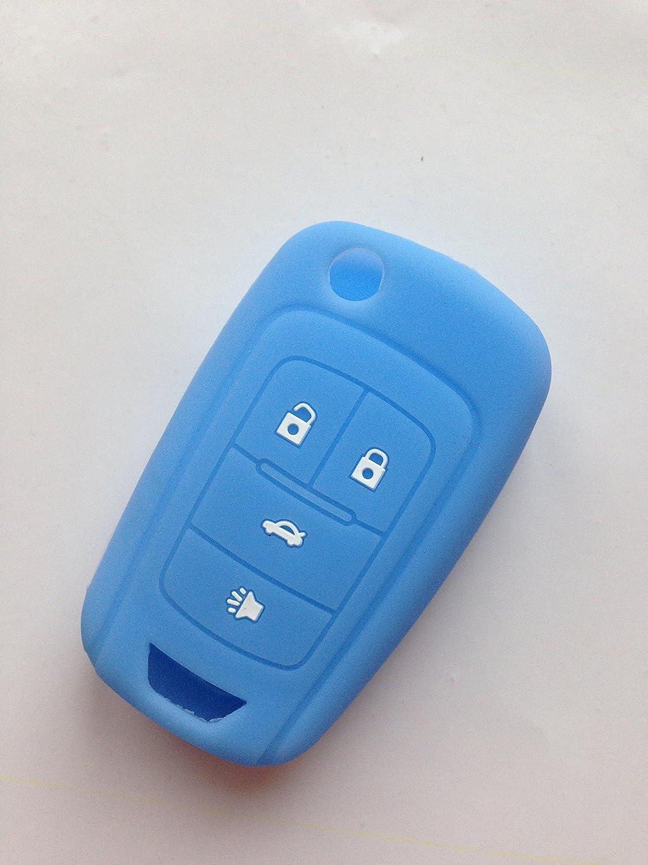 TCKEY Protective Cover Protecting Bag Holder Silicone Fob Skin Key Cover Key Jacket for CHEVROLET Malibu Camaro Cruze Equinox Sonic Spark Volt Flip Key Case Fob 4Bts