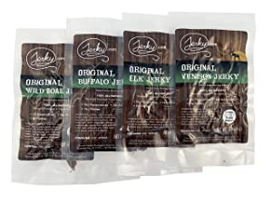 Jerky.com's Classic Exotic Jerky Sampler Pack - Bulk Pack with 4 Types of Jerky (Venison, Buffalo, Wild Boar and Elk) - High Protein Snack, All-Natural, Keto Diet, No Added Preservatives, 4oz Total