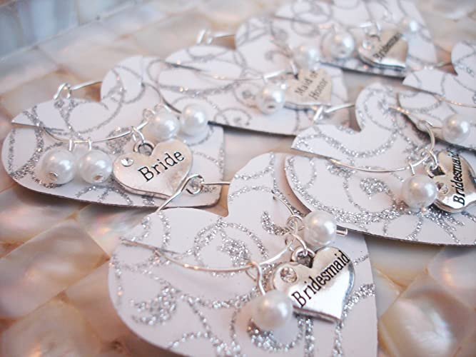 Amazoncom Wedding Wine Glass Charms Bridal Party Favor Handmade