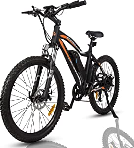 "Mountain EBike Electric Bicycle Bike 26"" Alloy Frame with 500W Powerful Motor 36V/13Ah Lithium Suspension Fork (Black)"